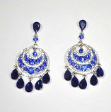 Sapphire/Clear Silver Dangle Teardrop Layers Earring