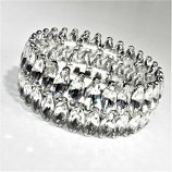 Clear/Silver Two Rows Marquise Stone Stretch Bracelet