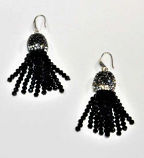 Jet/Silver Fashion Multiple Rows Fish Hook Earring