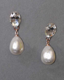 """Pearl/Clear Rose Gold Top Oval Dancing Pearshape Earring 1.5"""""""