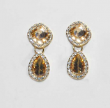 Light Colorado/Clear Gold Top Square Bottom Teardrop Earring