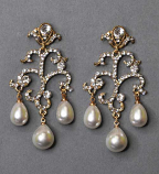 """Pearl/Clear Gold Branch Dancing Stone 3"""" Post Earring"""