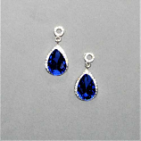 Sapphire/Clear Silver Top Round/Bottom Teardrop Post Earring