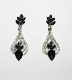 "Black Diamond/Clear Silver Pearshape Center Flower 2"" Post Earring"