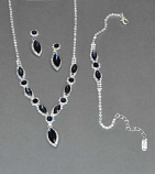 Montana Navy/Clear Silver Necklace Set 3 Pieces