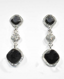 Hematite/Clear Silver Three Linked Square Shape Post Earring