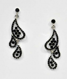 Jet/Silver Rain Drops Post Earring