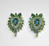 Olivine/Clear Silver Marquise Shape Center Pear Earring