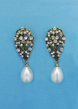 Pearl/Clear Antique Gold Top Big Leave Earring