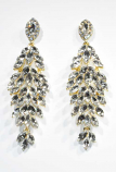 "Clear/Gold Leaves Shape 3"" Post Earring"