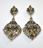 Black Diamond/Light Colorado Silver Leaves Shape Marquise Stone Earring