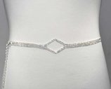 Clear/Silver Thin Belt Center Diamond Shape