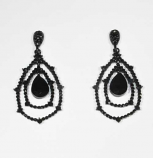 Jet/Black Web Earring Small Round Stone