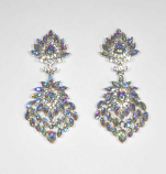 Aurora Borealis/Clear Silver Flower Marquise Stone Post Earring