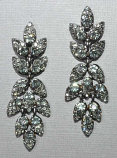 "Black Diamond/Hematite Leaf Like Dangle 2 1/2"" Earrings"