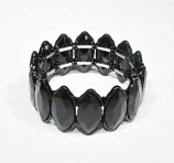 Jet/Black One Row Marquise Shape Stretch Bracelet