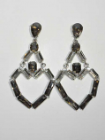 Black Diamond/Clear Silver Linked Baguette Stone Post Earring