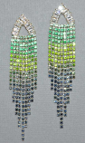 Cubic Zirconia/Gold Multiple Colors Rows Post Earring