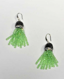 Peridot/Silver Fashion Multiple Rows Fish Hook Earrings