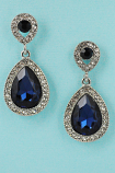 Sapphire/Clear Silver Two Pear Shape Stone Post Earring
