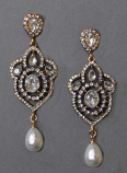 """Pearl/Clear Antique Gold 3"""" Framed Dancing Stone Earring"""