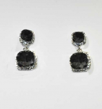 "Clear/Silver Two Square Stone 1.5"" Post Earring"