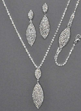 Clear/Silver Marquise Shape 3 Piece Neck Set