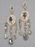 Clear/Gold Dangle Oval Stone Post Earring