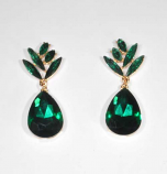 Emerald/Gold Top Leaf Shape Bottom Teardrop Post Earring