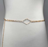 Clear/Gold Thin Belt Center Diamond Shape