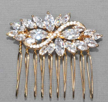 Cubic Zirconia/Gold Leaves Shape Hair Jewelry
