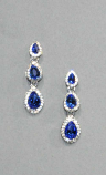 Sapphire/Clear Silver Three Linked Teardrop Post Earring