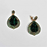 Emerald/Gold Clip Bottom Pearshape Linked Earring