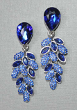 "Sapphire/Silver Leaf Like Dangle 2 "" Earrings"