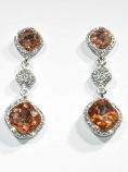 Light Peach/Clear Silver Three Linked Stone Square Post Earring