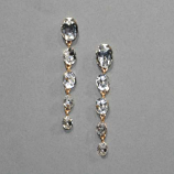 "Clear/Gold Five Oval 2"" Linked Post Earring"
