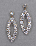 Cubic Zirconia/Gold Marquise Shape Square Stone Post Earring