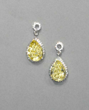 Jonquil/Clear Silver Top Round/Bottom Teardrop Post Earring