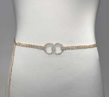 Clear/Gold Thin Belt Center Two Linked Round Shape