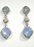 Blue Opal/Clear Silver Three Linked Stone Square