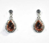 Light Peach/Clear Silver Top Round Connected Teardrop Earring