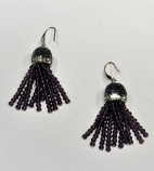 Amethyst/Silver Fashion Multiple Rows Fish Hook Earrings