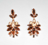 Light Peach/Rose Gold Marquise/Round Stone Post Earring
