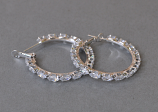 Clear/Silver 30mm Hoop Small Marquise Shape Earring