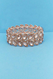 Light Peach/Rose Gold Two Rows Leaf Shape Stretch Bracelet