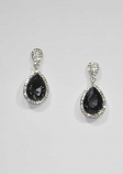 Black Diamond/Clear Silver Two Linked Teardrop Post Earring