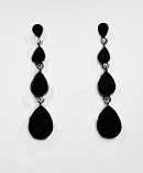 "Jet/Silver Four Linked Pearshape 2.5"" Post Earring"