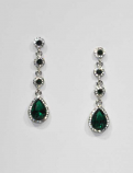 Emerald/Clear Silver Four Linked Round/Teardrop Post Earring