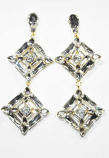 Clear/Gold Two Linked Square Shape Post Earring