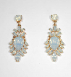 Opal/Gold Flower Shape Post Earring